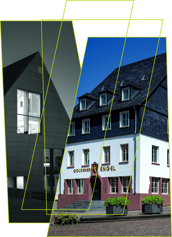Gebäude im Plakatstil